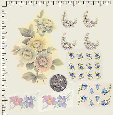 23 x Waterslide ceramic decals Decoupage Mixed floral Flowers Various size PD813