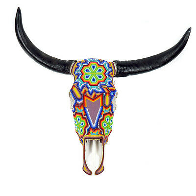 Huichol Beaded Bull Skull Wall Mount Authentic Cow Mexican Bead Folk Art