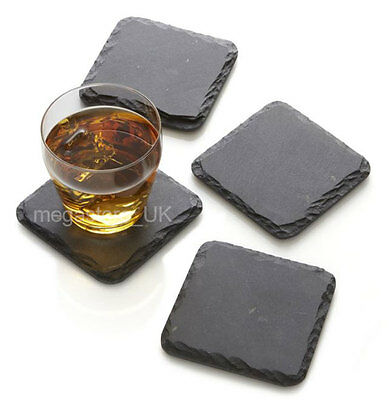 "Set of 4 piece,10x10cm 4x4"" Natural Slate Square Table Coaster Wine Glass Gift"