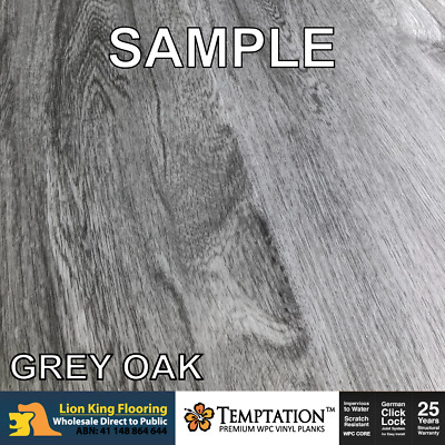 Water Proof Flooring -7mm WPC Floors/ WPC Vinyl Easy DIY - Grey Oak (SAMPLE)