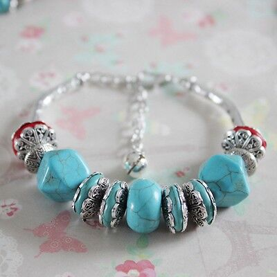 New Stretch High Quality Charm Blue Bracelet Fake Turquoise Silver Plated