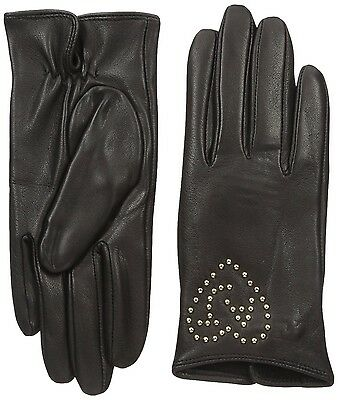 Armani Jeans Womens Black Lambskin Leather Gloves Soft Lambswool Lining Small