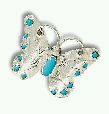 Native American Navajo Sterling Silver Turqouise Butterfly Pin