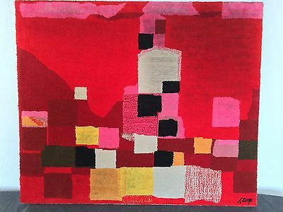 "Mid Century Modern Wand-Kunst-Teppich ""Brasilia"" Abstract Wall Art Rug Painting"