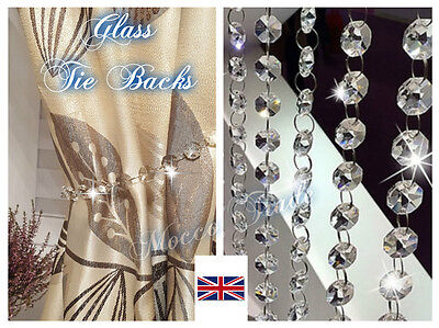 Clear Diamond Crystal Beads Tie Back -  Curtains & Voiles 48 cm
