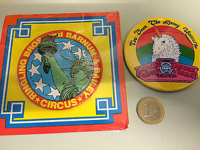Two circus badges Barnum and Ringling Brothers one new in packaging NM Condition