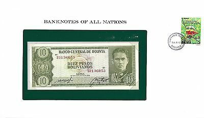 Banknotes of all Nations Bolivia 10 Bolivianos 1962 Pick # 154a Gem UNC.