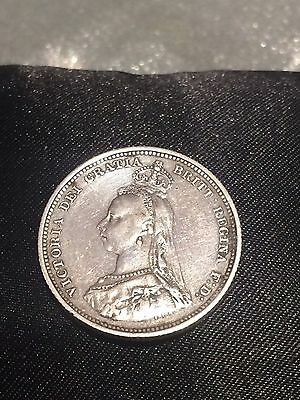 1887 Queen Victoria Sterling Silver Shilling Coin