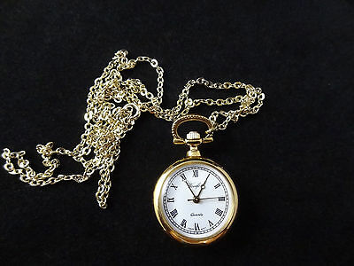 Gold plated pendant watch NEW IN BOX A8