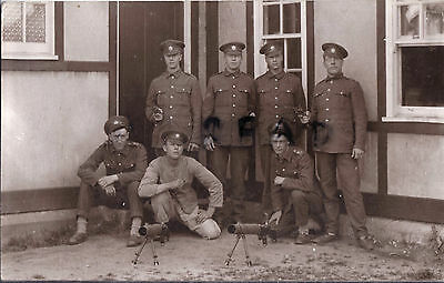 Soldier group Coldstream Guards in barracks with Lewis Gun Pirbright photograph