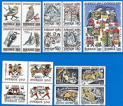 Sweden 1983 - 87 Five different blocks of four Christmas.  MNH