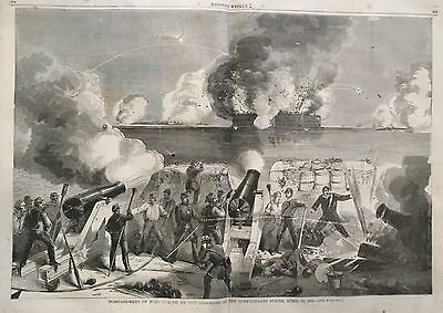 1861 newspaper CIVIL WAR BEGINS Fort Sumpter Bombed CONFEDERATES South Carolina