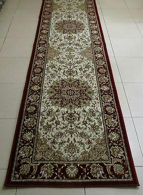 New Cream Persian Design High Quality Heatset Floor Hallway Runner Rug 80X300Cm