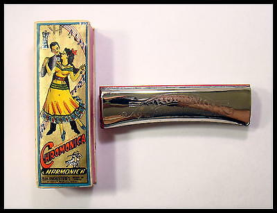 """GREAT RARE COLLECTABLE 1950s """"CHROMONICA """" HARMONICA WITH BOX. MADE IN INDIA."""