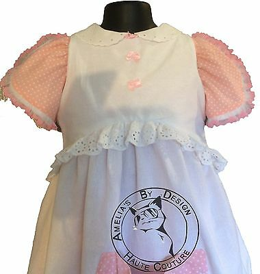 SALE! Baby girl Vintage Dress + Apron Prairie pink spots white lace eyelet Lined