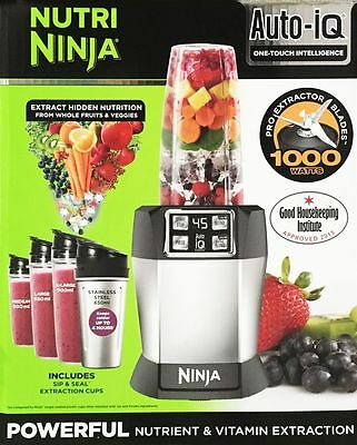 Nutri Ninja BL480UK CO with Auto-iQ 1000W Extraction Blender with 4 Cups & Lids