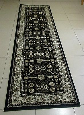 New Black Persian Design High Quality Heatset Floor Hallway Runner Rug 80X300Cm