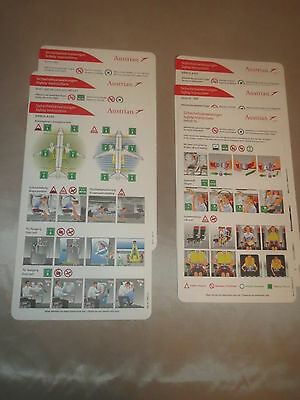 6 Safety Cards,Austrian Airlines, F70, Dash 8-400, A321, A320, B767-300,B777-200