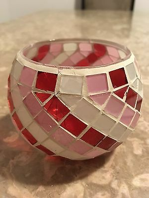 Valentines  Red, White and Pink tiles on Candle Holder