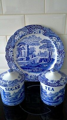 Spode blue italian sugar and tea canister and dinner plate