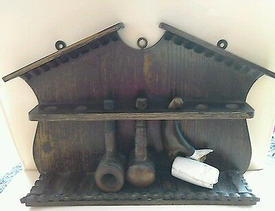 Vintage Pipe Rack And Three Pipes