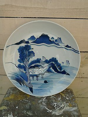 Large Antique Chinese Blue And White Charger