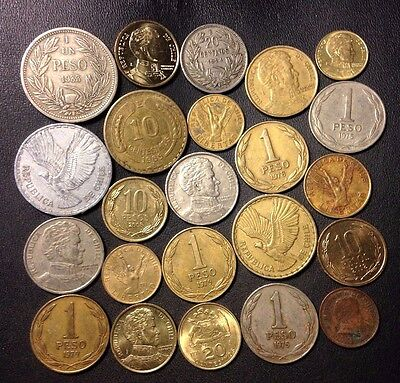 Old Chile Coin Lot - 1924-Present - 23 Great Vintage Coins - Lot #J12