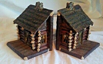 Heavy Resin Big Sky Carvers Log Cabin House Bookend Set Lot of 2 Rustic Montana