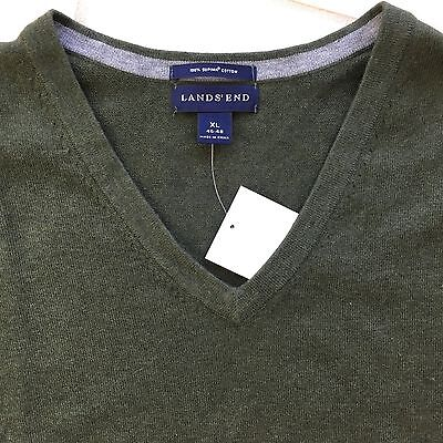 Lands' End Men's Solid V-Neck Long Sleeve Casual Dress Sweater XL Extra Large