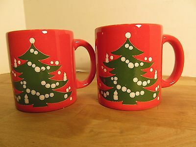 Set of 2 Christmas Mugs Coffee or Cocoa Cups Waechtersbach West Germany