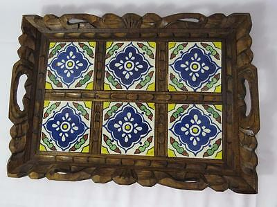 Vintage SERVING TRAY TILES HAND CARVED WOOD FRAME MADE IN MEXICO