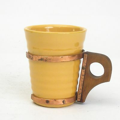 Vintage Bauer Pottery USA Ring Ware Yellow Small Tumbler with Zarf Handle