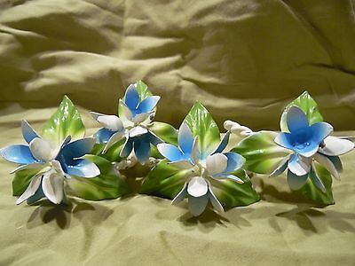 Vintage Shabby Chic Chippy Enamelled Floral Blue Green White Napkin Rings