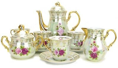 EURO Porcelain 17-Pc Pink & Red Roses Tea / Coffee Set, 24K Gold Service for 6