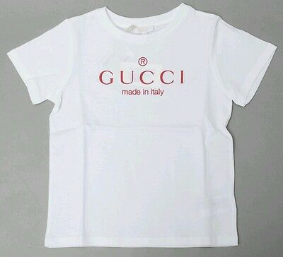 NWT NEW Gucci baby boys white tee shirt top red logo 2y 258705