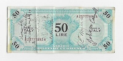 """1943 Italy Allied Military Currency 50 Lire """"WW2 Air Force Short Snorter"""" VF"""