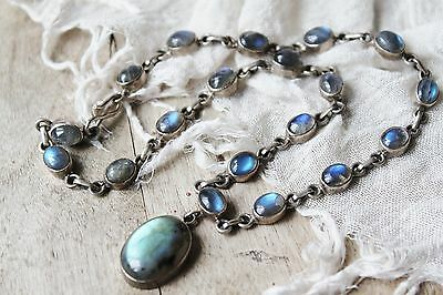 30g ART DECO Vintage All STERLING Silver LABRADORITE Statement Necklace 15 1/4""