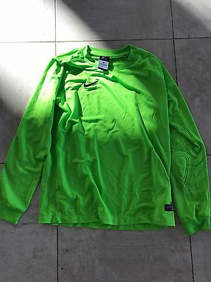 Nike Dri fit Large goalkeper shirt Youth Soccer Neon Green Jersey long sleeve