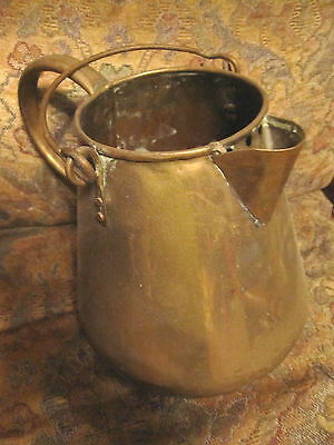 Vintage  Brass Large Coffee Pot metal handle, no lid, early pot