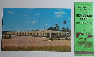 1960's Postcard And Matchbook Combo Triangle Motel I-75 Loop Grayling Michigan