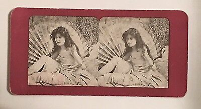 Erotic Antique Stereoview Card Boudoir Legs. Moment Alone.