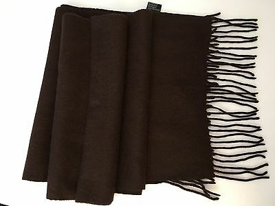 """100% Cashmere Scarf Size 72"""" X 12"""" Color Brown Barely Used"""
