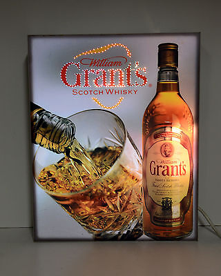 William Grants Scotch Whisky  Beer Sign Lighted Motion Box Man Cave Bar
