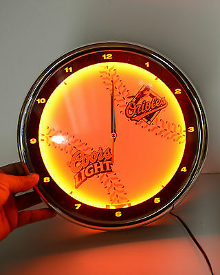 Neon Clock Coors Light and Orioles Baseball Red Neon Beautiful Collector Piece