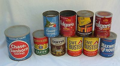Lot Of 10 Old Coffee Cans They Have Wear Rust And Aging Great For Projects