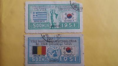 Korea Two Used Korea War Stamps as Per Photo