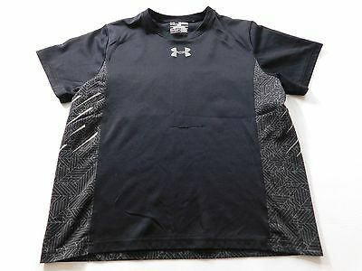 Under Armour Boys T Shirt Size Extra Large XL Black Silver Graphic Logo Youth