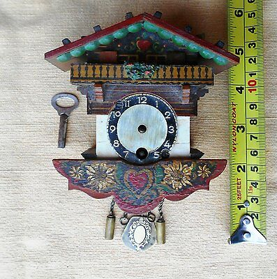 Vintage Wall Pendulum Clock Key Black Forest Germany old Handcrafted Cuckoo