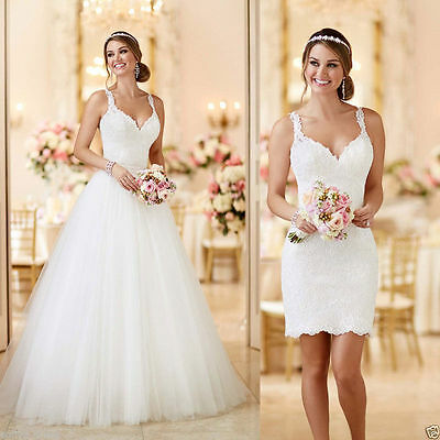 White/Ivory Lace Bridal Gown Mermaid Wedding Dress Custom Size 2 4 6 8 10 12 14+