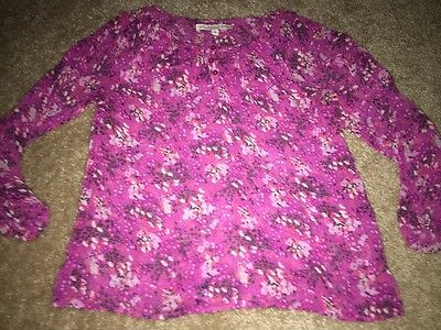 Girls* 77 KIDS Size M (10)* Pink Floral Blouse Top Shirt